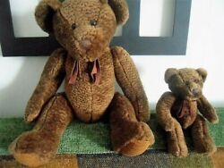 Russ Berrie - 2 Collectible Teddy Bears Brown Color Big 17 And Small 8.5 Tall
