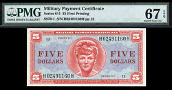 5 Series 611 Military Payment Certificate Mpc Pmg 67 Epq High Grade And Rare