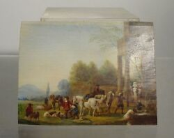 Antique European English Miniature Painting Oil Panel Redcoats Soldiers Early