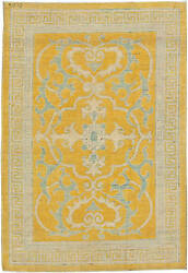 Traditional Oriental Inspired Yellow Beige And Gray Wool Rug N11160
