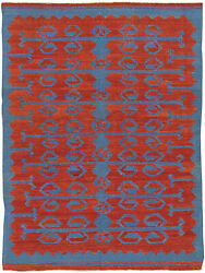 Contemporary Bright Red And Blue Dangelo Hand Knotted Wool Kilim Rug N10758
