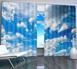 Puffy Cloud Relaxing Lif 3d Blockout Photo Printing Curtains Draps Fabric Window