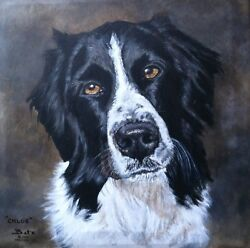 Custom Dog Portrait Painting By Artist Bets 24 X 24 Your Beloved Dog On Canvas