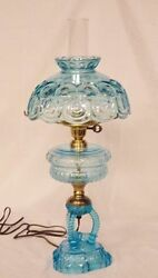 Ver Rare Fenton 24 Blue Moon And Star Lamp -free Shipping With Bin -gtc