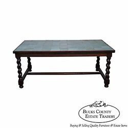 Antique Arts And Crafts Oak Barley Twist Green Tile Top Dining Table