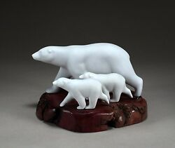 Polar Bear And 2 Cubs Sculpture By John Perry 10in Long New Direct From Studio