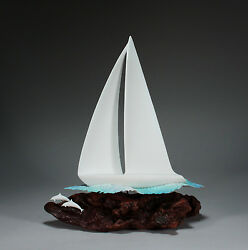 Sail Boat Yacht Sculpture By John Perry 14in Long New Direct From The Studio