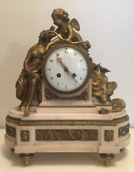 And Co. Antique Marble And Bronze Mantle Clock Angel And Seated Bronze Woman