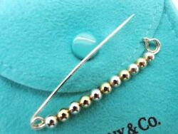 And Co. Sterling Silver And 14k Yellow Gold Beaded Diaper Lapel Pin In Box
