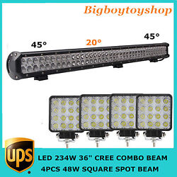 36in 234w Led Light Bar For Driving Jeep 4wd Ford Suv Truck+48w Spot Flood Beam