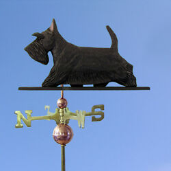 Scottish Terrier Hand Carved Hand Painted Basswood Dog Weathervane Black