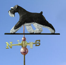 Schnauzer Uncropped Hand Carved Hand Painted Basswood Dog Weathervane Black/s...