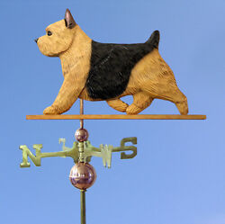 Norwich Terrier Hand Carved Hand Painted Basswood Dog Weathervane Black