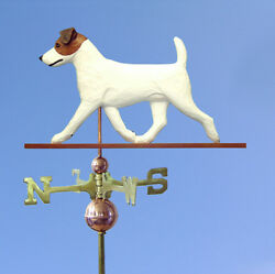 Jack Russell Terrier Hand Carved Hand Painted Basswood Dog Weathervane Brown...