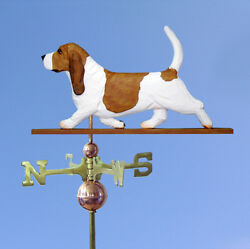Basset Hound Hand Carved Hand Painted Basswood Dog Weathervane RedWhite
