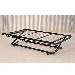 Twin Rolling Pop Up Trundle Metal Frame Casters Support Link Spring Day Bed New