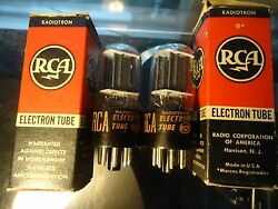 Rca 6sn7gt Usa Made Tv-7 Tested Strong Black Plate Pair Of Vintage Valves Tubes