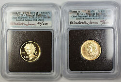 1988-w Proof And Unc 5 Olympic Gold Commem Autographed 2 Coin Set Icg Ms-70 Pf-70