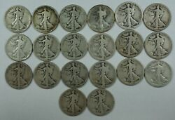1921-s Walking Liberty Half Dollar 50c Roll 20 Circulated 90 Silver Coins Lot