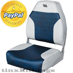 Gray Blue Fishing Boat Seat Mid Back Navy Chair Padded Cushion Mounting Hardware