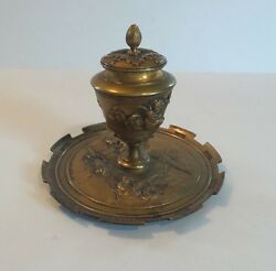 Antique French Bronze Inkstand / Inkwell Cherubs And Musical Instruments