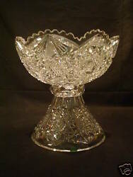 American Brilliant Period Abp Cut Glass Punch Bowl And Stand, C. 1880-1900