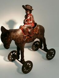 Price Reduced Vintage Collectible C.i. 1890s Girl On A Donkey Pull Toy