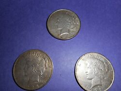 Silver Morgan Dollars Set Of 3 Two 1923 And One 1922 Nice