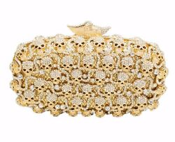Ladies Golden Crystal Skull Evening Clutches Bag Diamond Wedding Clutch Purse $219.00