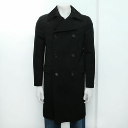New Prada Black Compact Wool Double Breasted Overcoat Size 50r Bnwt