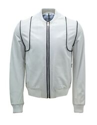 New Mens Dior Homme White And Black Leather Bomber Harrington Jacket Size 50 L