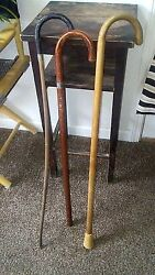 Vintage Lot 3 Wooden Canes Walking Sticks Distressed Antique Shabby Chic Decor