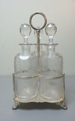 Antique Etched 3-bottle Tantalus, Tall Crystal Decanters In Silver Plate Stand