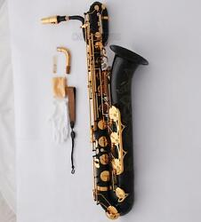 Prof Black Gold Baritone Saxophone Eb Sax High F 2 Neck Hand Engraved With Case