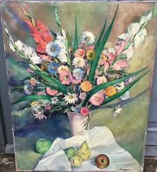 Gorgeous, Signed Lagar - Oil On Canvas - Vase With Flowers And Fruits