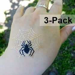 Spider Net Temporary Metallic Gold and Black Tattoos for Halloween 3 Pack
