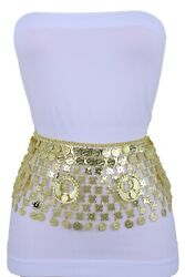 Women Gold Metal Middle East Style Ethnic Coin Charms Bollywood Belt Size M L Xl