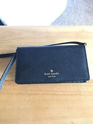 kate spade black small cell phone wallet crossbag