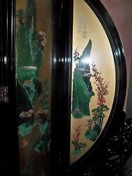 Large Asian 4 Panel Screen Room Divider Jade Coral Glass Dual Sided - 1500 Obo