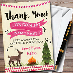 Deer And Campfire Camping Girls Personalised Party Thank You Cards