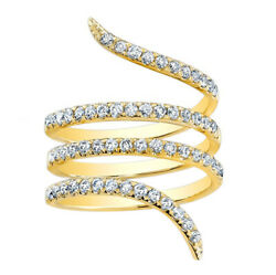 Igi Certified Solid 14k Yellow Gold Natural Diamond Wrapped Ring 1.07tcw