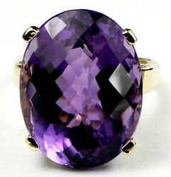 Amethyst Solid 10ky Or 14ky Gold Ladies Ring R217-handmade