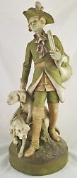Rare Antique Bohemian 19th / 20th C Royal Dux Statue Grouping Fox Hunter And Dogs