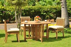 Giva Grade-a Teak 4 Pc Dining 48 Round Table 3 Armless Chair Set Outdoor