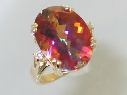 Twilight Fire Topaz W/ 2 Accents 10ky Or 14ky Gold Ladies Ring R269-handmade