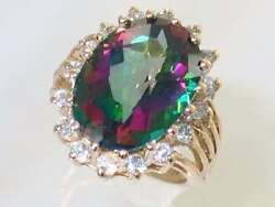 Mystic Fire Topaz W/ 2 Accents 10ky Or 14ky Gold Ladies Ring R270-handmade