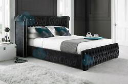 Vancouver 4ft Chesterfield Bed With Winged Headboard Various Colours And Fabrics