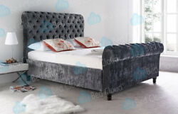 Milan 6ft Super King Chesterfield Sleigh Bed In Various Colours And Fabrics