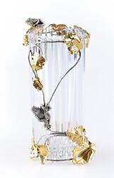 Silver And Crystal Vase Frogs