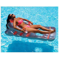 Floating Pool Lounge Chair Inflatable Swimming Recliner Water Fun Back Support